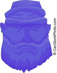 Cartoon Brutal Man Face with Beard. Vector