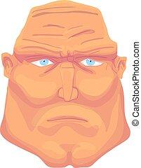 Cartoon Brutal Man Face with blue eyes. Vector