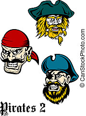 Cartoon brutal pirate captains set with mustaches, beards...