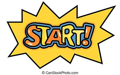 Cartoon start button in retro style. yellow comic word ...
