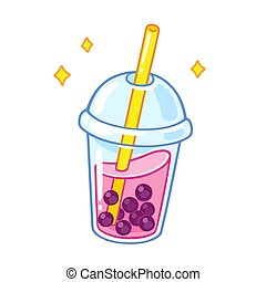 Cartoon bubble tea - Cartoon bubble milk tea with tapioca...