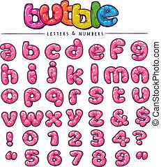 Cartoon bubblegum font - Bubble font. Cartoon bubblegum...