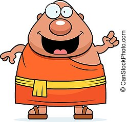 A cartoon illustration of a Buddhist monk with an idea.