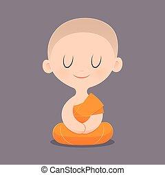 Buddhist Monk - Cartoon Buddhist Monk Of Southeast Asia....