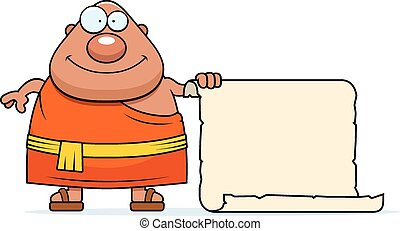 A cartoon illustration of a Buddhist monk with a sign.