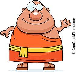 A cartoon illustration of a Buddhist monk waving.