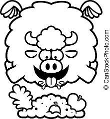 Cartoon Buffalo Eating - A cartoon illustration of a buffalo...