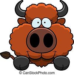 Cartoon Buffalo Peeking - A cartoon illustration of a...
