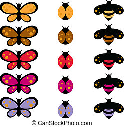 Cartoon Bug Collection - Colorful cartoon bug collection of...