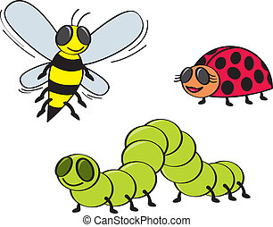 Cartoon Bugs - Three coomon garden bugs drawn in a cartoon...