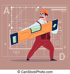 Cartoon Builder Holding Carpenter Level Wearing Uniform And Helmet Construction Worker Over Abstract Plan Background