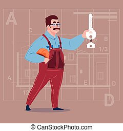 Cartoon Builder Holding Key From New House Over Abstract Plan Background Male Workman
