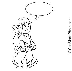 Cartoon Builder - Monochrome outline cartoon builder with...