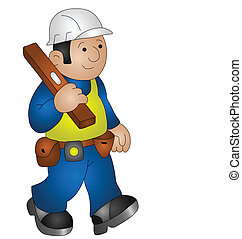 builder - Cartoon builder wearing personal protection...