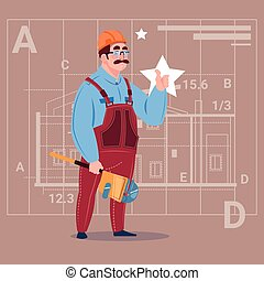 Cartoon Builder Wearing Uniform And Helmet Construction Worker Over Abstract Plan Background Male Workman