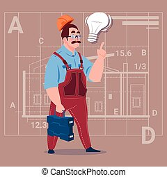 Cartoon Builder With Light Bulb Wearing Uniform And Helmet Construction Worker Over Abstract Plan Background Male Workman
