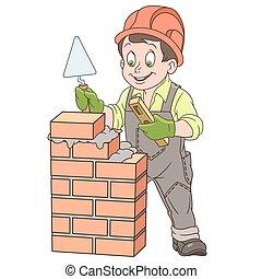 Cartoon builder worker