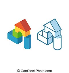 Cartoon building blocks - Colorful toy building blocks for...