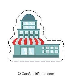 cartoon building store market
