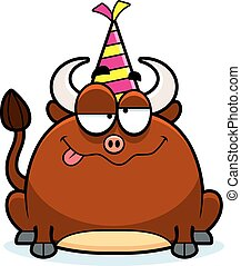 A cartoon illustration of a little bull with a party hat looking drunk.