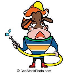 cartoon bull fireman