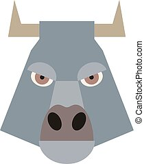 Cartoon bull head isolated. Flat design. Vector
