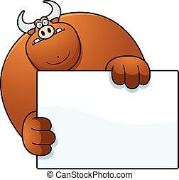 Cartoon Bull Hiding - A cartoon illustration of a bull ...