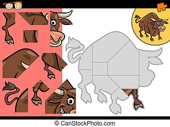 cartoon bull jigsaw puzzle game - Cartoon Illustration of...