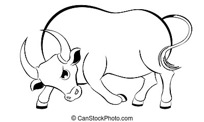 Cartoon bull line art