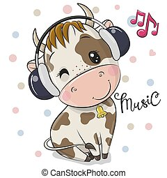Cartoon Bull with headphones on a white background
