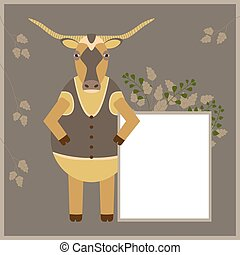 Cartoon bull with long horns holds a white sheet for advertising. Simple vector flat illustration. White blank, board with empty place for your text