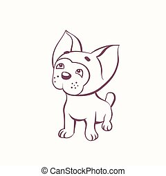 Cartoon bulldog in the ink contour style