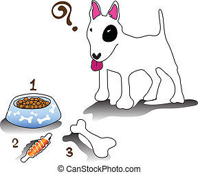 cartoon bullterrier dog feeding