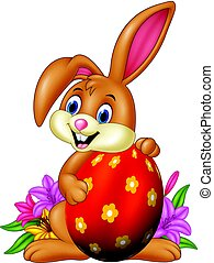 Cartoon bunny holding easter egg