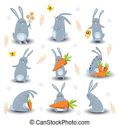 Cartoon bunny rabbit characters vector icons for Easter, kids book or fairy tale design template