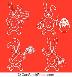 Cartoon bunny set on red background