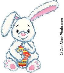 Cartoon bunny toy hugging easter eggs