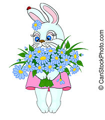 cartoon bunny with a big bouquet of flowers daisies