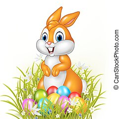 Cartoon bunny with easter eggs