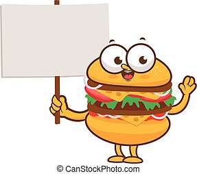 Cartoon burger holding a blank sign