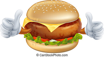 Cartoon burger mascot