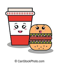 cartoon burger with facial expression and cup plastic isolated d
