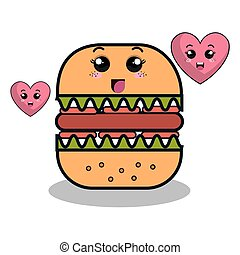 cartoon burger with facial expression and isolated icon design