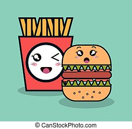 cartoon burger with fries french facial expression and isolated