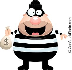 Cartoon Burglar Money Bag - A cartoon illustration of a...