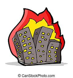 cartoon burning buildings