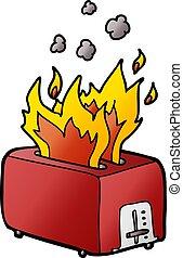 cartoon burning toaster