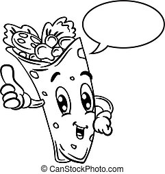 cartoon burrito with bubble speech