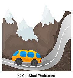 Cartoon bus on a mountain road