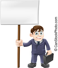 Cartoon business man and sign - A happy cartoon business man...